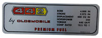 1967 Oldsmobile 442 Valve Cover Decal