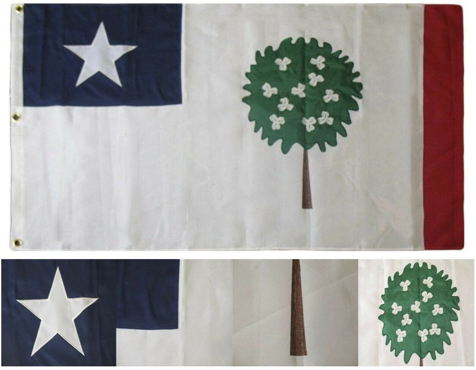 3x5 Bordado Cosidas Mississippi República Sintético Algodón 0.9mx5' Flag 3 Clips