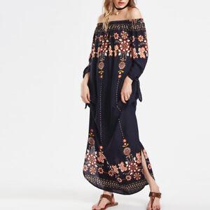 Plus-Size-Women-039-s-Off-Shoulder-Boho-Floral-Long-Maxi-Dress-Kaftan-Beach-Sundress