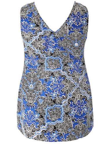EX LABEL BE AT SIMPLY BE BLUE PRINT V NECK VEST TOP-SIZES 14 16 18 26 28 32 NEW