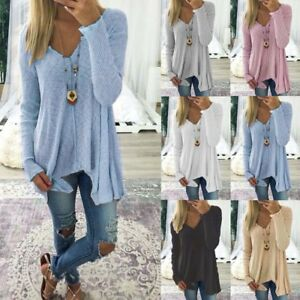 Womens-V-Neck-Loose-Long-Sleeve-Sweater-Casual-Baggy-Pullover-Jumper-Blouse-Top