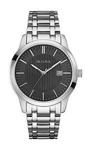 Bulova-Men-039-s-96B223-Black-Dial-Stainless-Steel-Date-Watch
