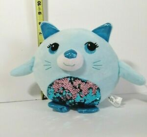 New-with-Tag-Plush-Paradise-Blue-Sequin-Cat-Plush-Stuffed-Toy