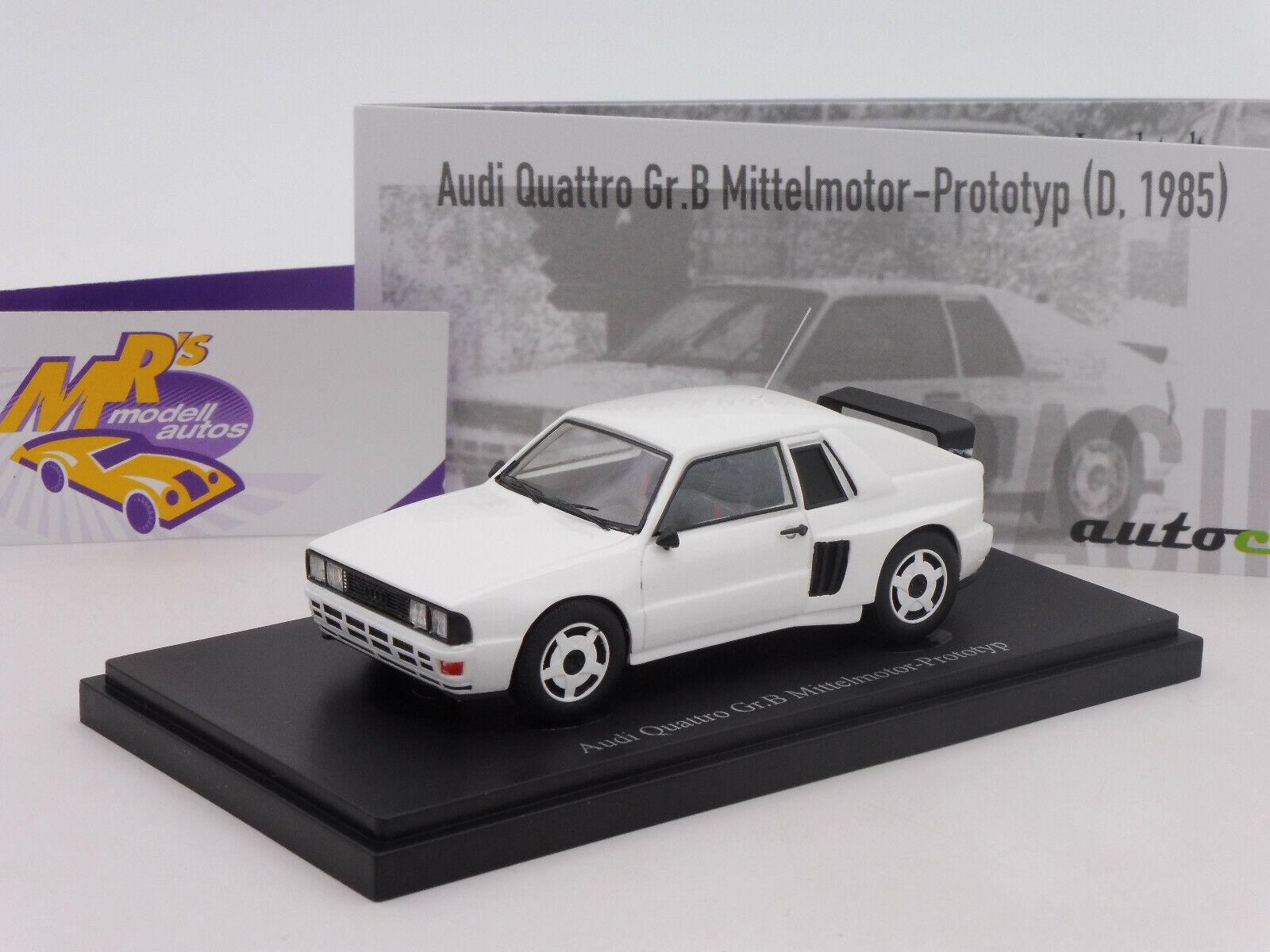 Autocult 07013    AUDI QUATTRO Taille B moyens moteur prougeotype Année 1985  BLANC  1 43  boutique en ligne