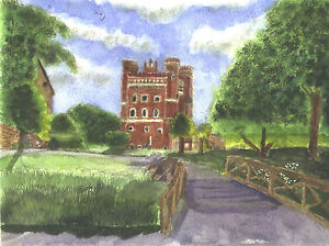 Watercolour-Painting-Print-Tattersall-Castle-Lincolnshire-15-5-034-x-11-12-034-size