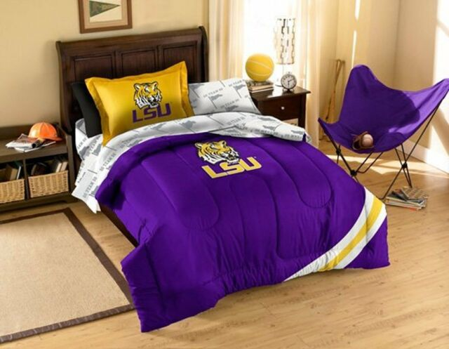 Ncaa Lsu Tigers Twin Bed In A Bag 5 Pc Set Contrast Series For Sale