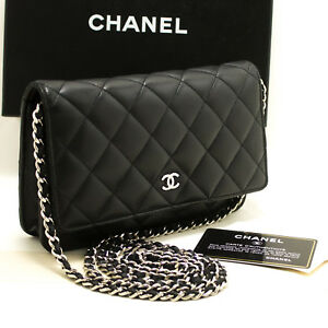 p12 CHANEL Black Wallet On Chain WOC Shoulder Bag Crossbody Clutch ... fb6987d87670f