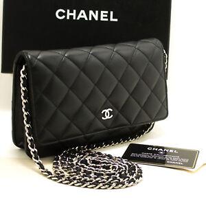 5e1295e296c5f4 p12 CHANEL Black Wallet On Chain WOC Shoulder Bag Crossbody Clutch ...