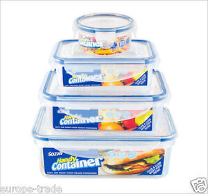 Set Of 4 Clip Lock Airtight Kitchen Food Storage Container Plastic