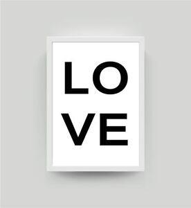 Schlafzimmer Poster | Spruch Love Kunstdruck Bild A4 Schlafzimmer Deko Wandbild Liebe