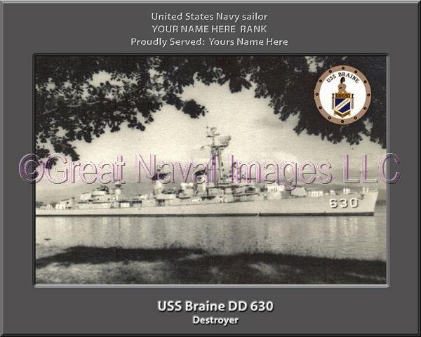 USS Braine DD 630 Personalized Canvas Ship Photo Print Navy Veteran Gift