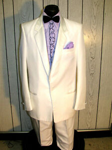 Image is loading COSTUME-WHITE-TUXEDO-MENS-36L-VINTAGE-TUX-GREAT- & COSTUME WHITE TUXEDO MENS 36L VINTAGE TUX GREAT FOR HALLOWEEN-PARTY ...