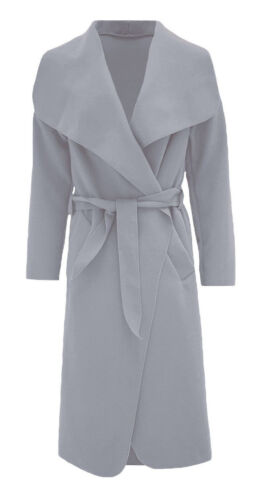 Donne Onorevoli ITALIANO lungo BELTED Giacca francese TRINCEA CASCATA Cappotto UK 8-16
