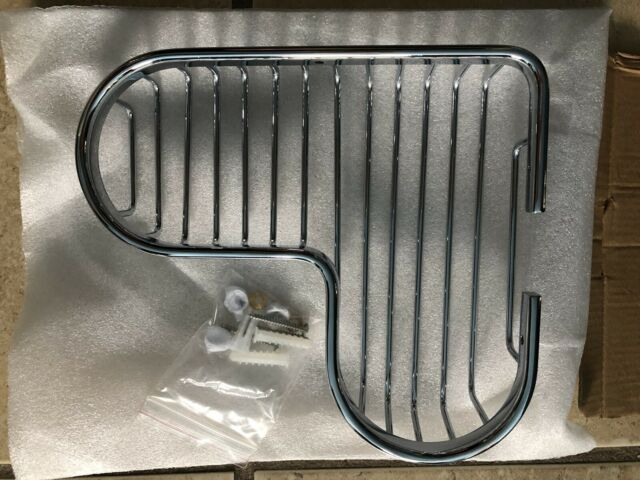 Corner Soap Dish Holder Chrome Bathroom Wire Grid Shower Bath Caddy Basket Home