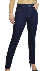 (1528-2) Stretch Denim Jeans Smooth Wash Mid Rise Indigo Dark Blue 10-22