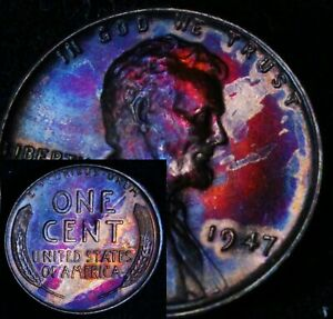 UNCIRCULATED-1947-P-BU-40h-VIBRANT-Rainbow-MONSTER-Toned-Penny-Wheat-Cent