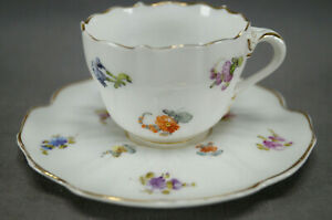 Donath Dresden Hand Painted Scattered Flowers & Gold Demitasse Cup & Saucer B