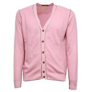 Cardigan Wool Lana Shockly Uomo Delave' 7127v Pink Men Sweater dPwqZxYn4