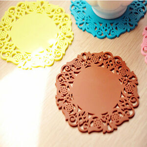 Colorful 4Pcs Flower Hollow Round Silicone Table Mat Cup Coaster Placemat Tools