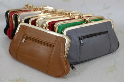 Ladies Soft Leather Ball Snap Clasp 2 Zips Purse Clutch //Coin Bag Wallet