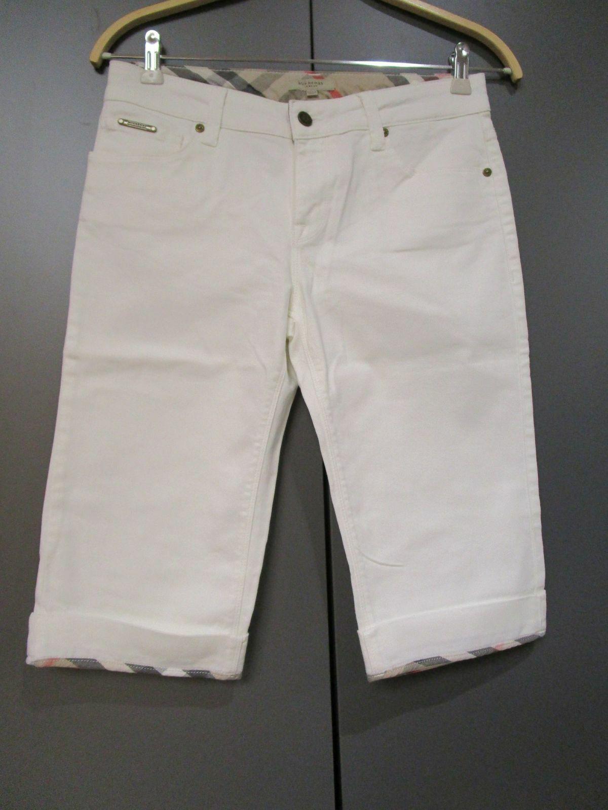 Burberry Bermuda Jeanshose Caprihose weiß Gr.28 (V4-11)