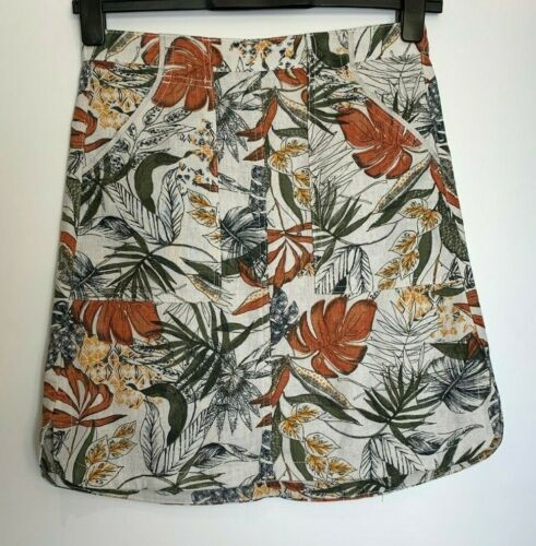 n-95h Next Linen Blend Elastic Back Beach Skirt 8 Prints Size 12 Grey Only