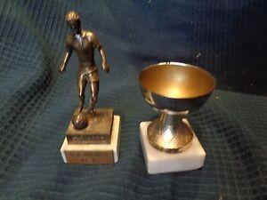 Lote-de-2-Copas-Trofeo-Deportivo-Futbol-Copa-Del-Mundo-Euro-Vintage-Antiguo