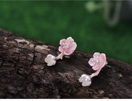 Rosa Begonie Blumen Natürlich Muschel Solide 925 Silber Frauen Ohrringe Geschenk