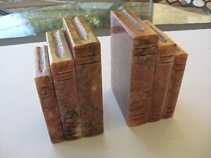 Vintage Hand Carved Alabaster Bookends ``Books``Made in Italy Original Stickers