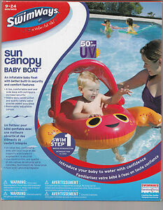 New! SwimWays Step One Sun Canopy Baby Boats Ages 9-24 months