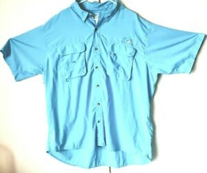 World-Wide-Sportsman-Mens-Button-Up-Solid-Vented-Fishing-Blue-Shirt-Sz-3XL-EUC