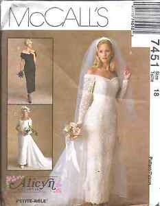 7451 Uncut Vintage Mccalls Sewing Pattern Wedding Bridal Gown