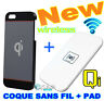 Coque Housse Adaptateur + PAD Qi sans Fil +Cable Chargeur pour Apple iPhone 5/S