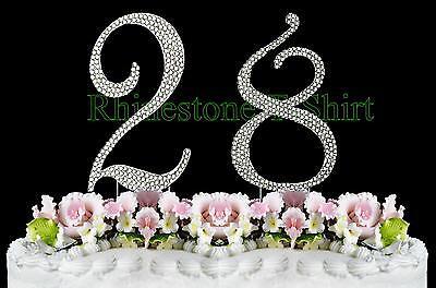 Phenomenal Large Rhinestone Number 28 Cake Topper 28Th Birthday Wedding Birthday Cards Printable Inklcafe Filternl