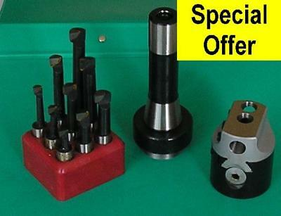 50mm Boring Head with 3 Morse shank and set of 9 12mm diameter tools