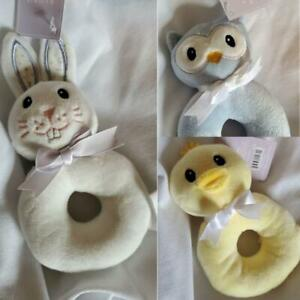 NWT-Plush-Baby-Duckie-Owl-or-Bunny-First-Rattle-Easter-Theme
