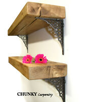 Rustic Wood Wooden Shelf Shelves Chunky Thickness Cast Iron Metal Brackets