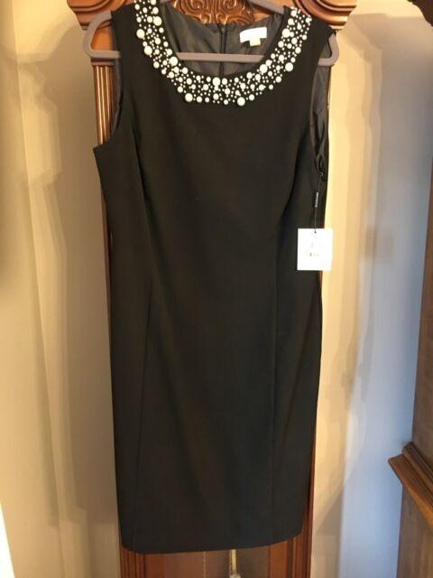 Calvin Klein Pearl Embellished Neck Sheath Dress Petite Black