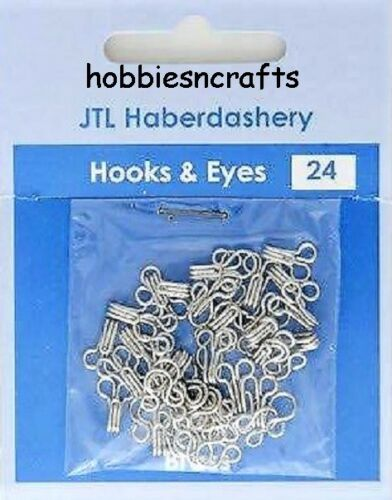 JTL204 SENT 1ST CLASS MAIL PACK OF 24 SETS OF SILVER HOOKS /& EYES SIZE 2