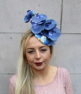 34d02afb41a0e Image is loading Royal-Light-Blue-Cream-Orchid-Flower-Fascinator-Races-