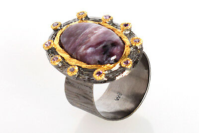 Other Fine Rings 2019 Fashion Charoite & Amethyst 925 Sterling Silver Gold Plated Ring Sz 10 For Girls Fsj-532