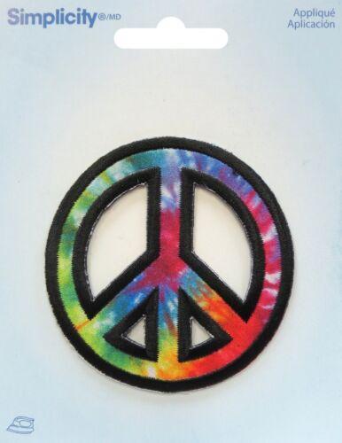 Peace Sign Symbol Iron-on Applique Motif Patch Multi-Coloured Crafts School