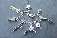 Deluxe Hair Stylist Sterling Silver Charm Bracelet - Comb, Scissors, Hair Dryer