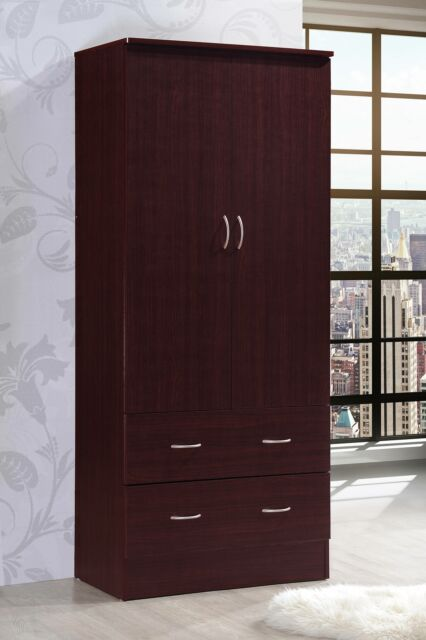 Bedroom Armoire 2-door 2-drawers mahogany wardrobe storage closet cabinet  wood