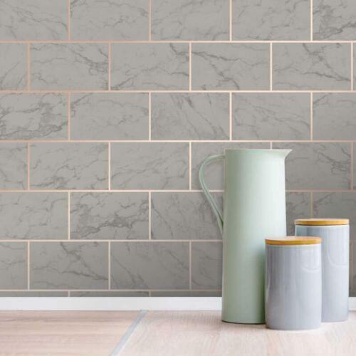 Crown 3D Effect Brick Tile Wallpaper Charcoal Marble Rose Gold Metallic Vinyl