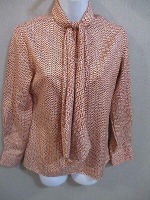 PUSSY BOW 1970s Vintage dress Satin twill secretary dress Berbright GEOMETRIC patterned