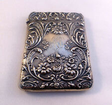 Ornate Repousse Decoration English Birmingham 1903 Sterling Card Case Mono MD