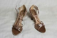 Women's Mixit Brown Strappy Sequined Sandal 3 5/8'' Heel Dress Shoes Sz 10