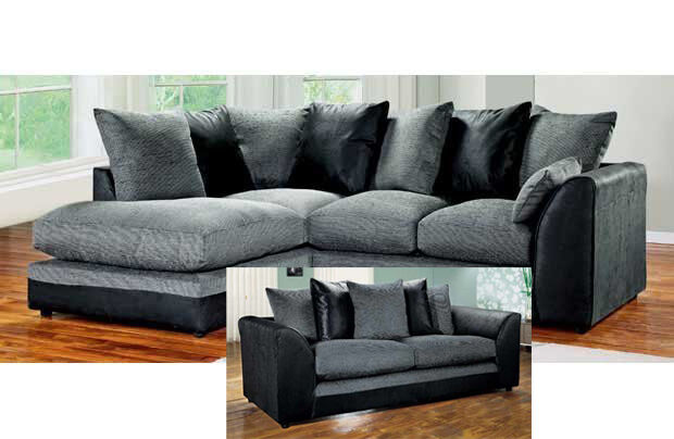 Dylan Corner Group Sofa Left /Right, Black/Charcoal with Matching 2 / 3 Seater