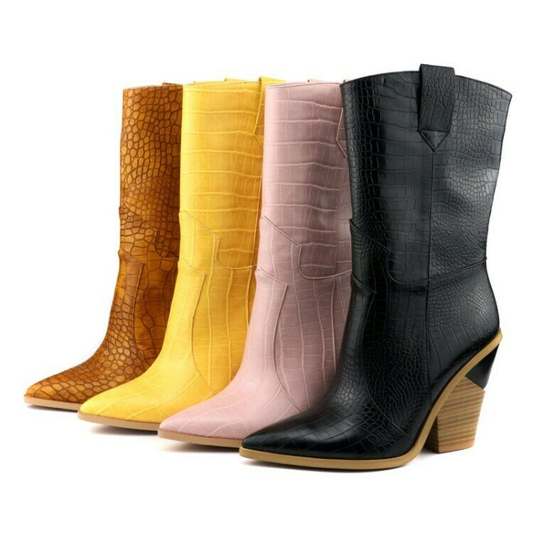 Womens Sexy Pointy Toe Serpentine Mid Calf Boots Block Heels Chelsea boots HOT
